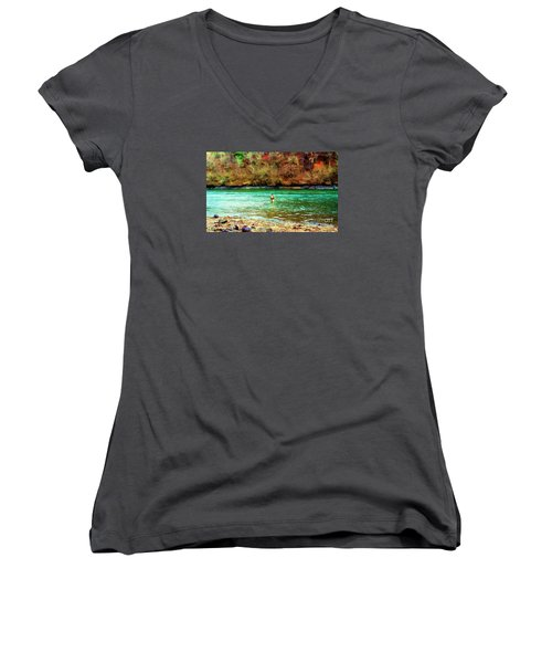 Women's V-Neck T-Shirt (Junior Cut) featuring the photograph Fisherman Hot Springs Ar In Oil by Diana Mary Sharpton
