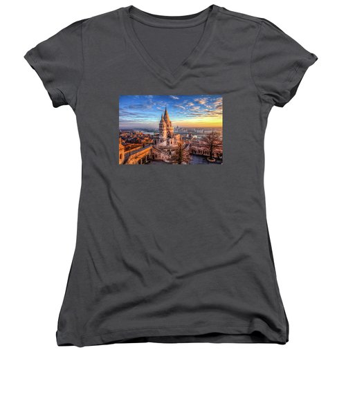 Fisherman's Bastion In Budapest Women's V-Neck T-Shirt (Junior Cut) by Shawn Everhart