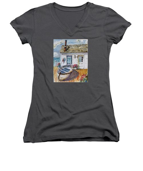 Fisherman's Cottage Women's V-Neck T-Shirt (Junior Cut) by P Maure Bausch