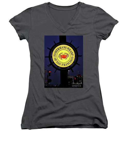 Fishermans Wharf Sign At Night Women's V-Neck T-Shirt