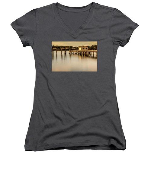 Fishermen Fuel Dock Women's V-Neck T-Shirt (Junior Cut) by Tony Locke