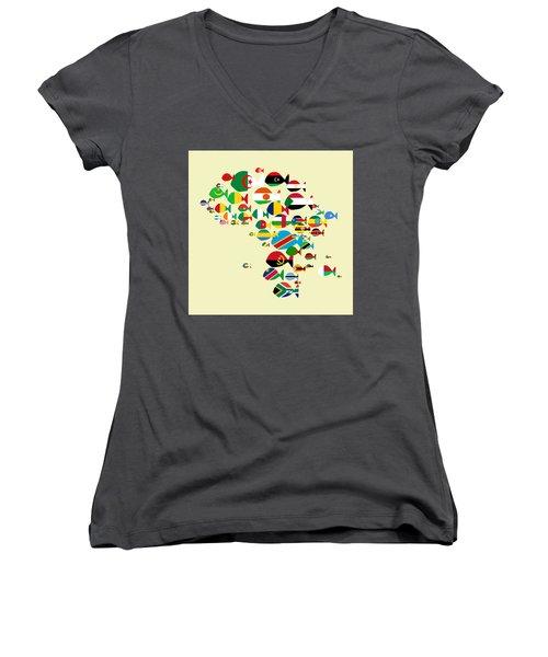 Fishes Map Of Africa Women's V-Neck T-Shirt (Junior Cut) by Keshava Shukla