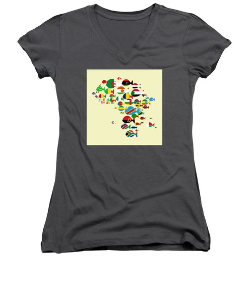 Fishes Map Of Africa Women's V-Neck T-Shirt