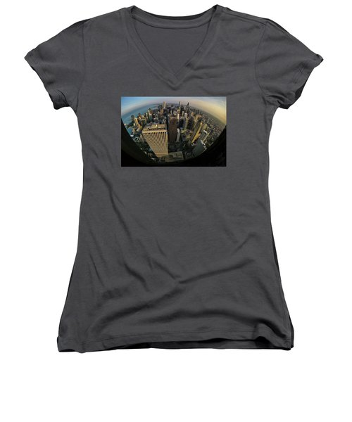 Fisheye View Of Dowtown Chicago From Above  Women's V-Neck