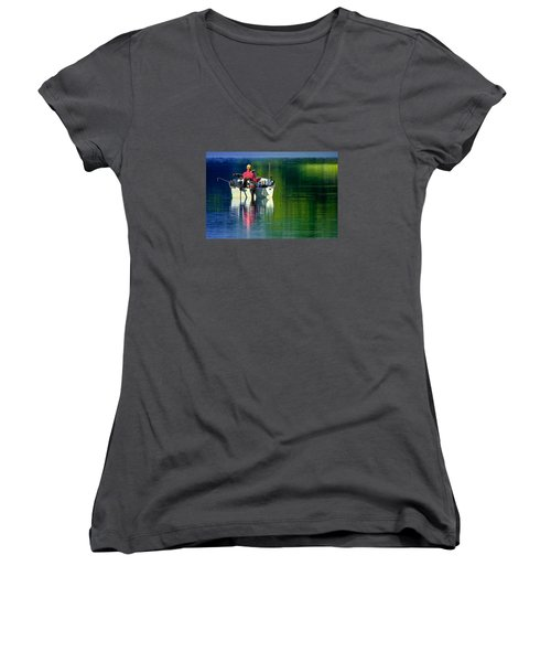 Fishing And Wishing 2 Women's V-Neck (Athletic Fit)