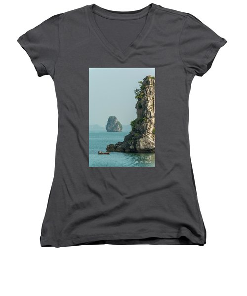 Fishing Boat 2 Women's V-Neck T-Shirt (Junior Cut) by Werner Padarin