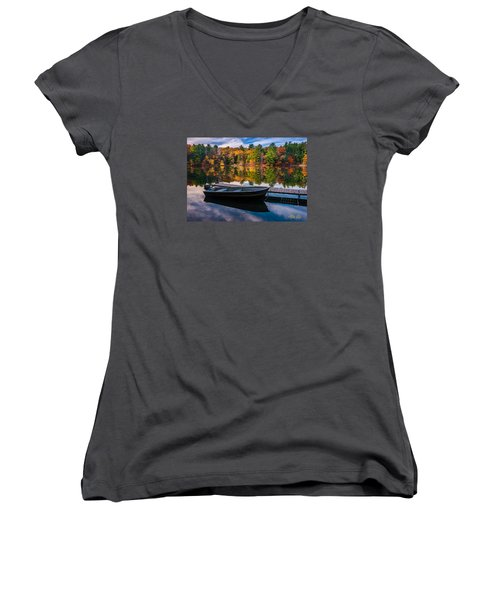 Women's V-Neck T-Shirt (Junior Cut) featuring the photograph Fishing Boat On Mirror Lake by Rikk Flohr