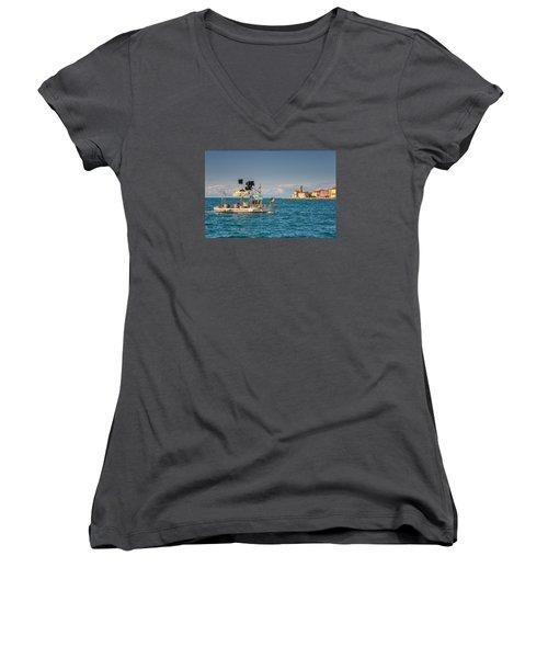 Fishing Boat Women's V-Neck T-Shirt (Junior Cut) by Robert Krajnc
