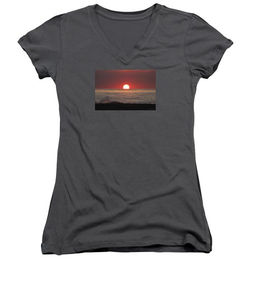 Women's V-Neck T-Shirt (Junior Cut) featuring the photograph Fishing Boat Sunrise by Robert Banach