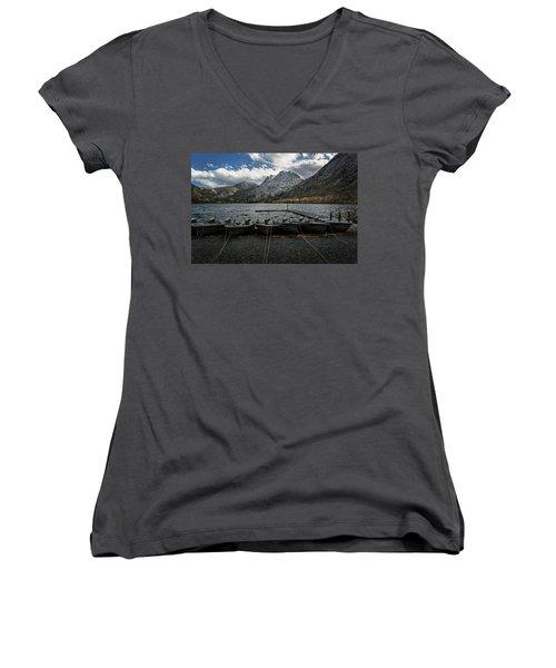 Fishing Boats Along The Shore Women's V-Neck T-Shirt