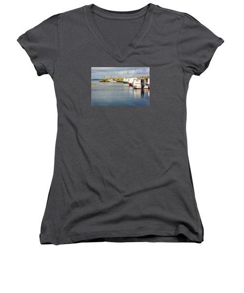 Fishing Boats At Feltzen South Women's V-Neck T-Shirt (Junior Cut) by Ken Morris