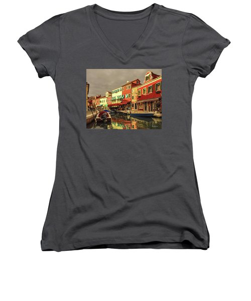 Fishing Boats In Colorful Burano Women's V-Neck (Athletic Fit)