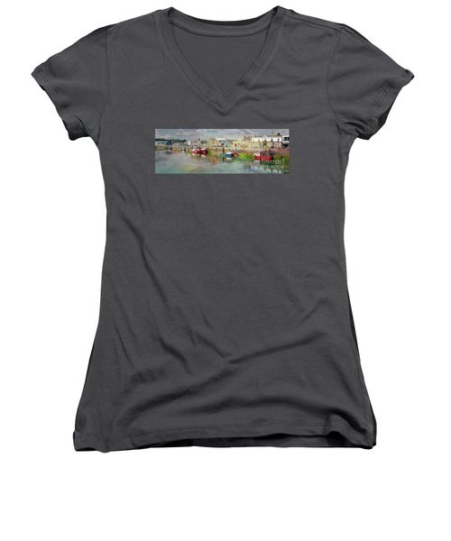 Fishing Boats In Ireland Women's V-Neck (Athletic Fit)