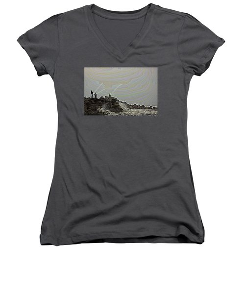 Fishing In The Twilight Zone Women's V-Neck