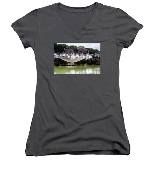 Fishing Net Women's V-Neck T-Shirt (Junior Cut) by Ana Mireles