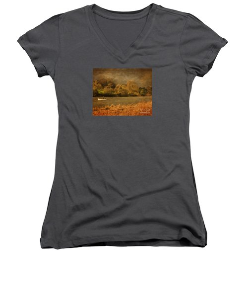 Fishing On Thornton Reservoir Leicestershire Women's V-Neck T-Shirt (Junior Cut) by Linsey Williams