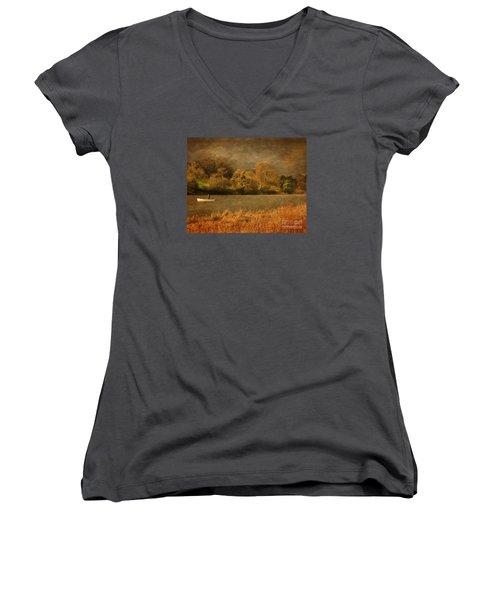 Fishing On Thornton Reservoir Leicestershire Women's V-Neck T-Shirt