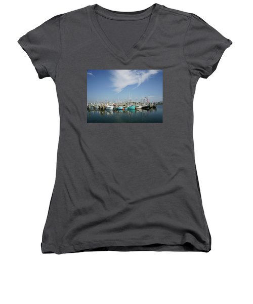 Fishing Vessels At Galilee Rhode Island Women's V-Neck T-Shirt