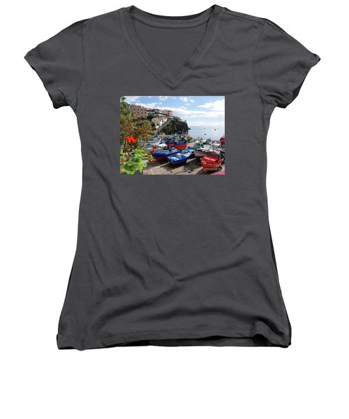 Fishing Village On The Island Of Madeira Women's V-Neck