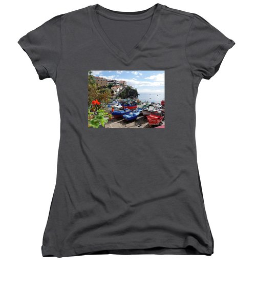 Fishing Village On The Island Of Madeira Women's V-Neck (Athletic Fit)