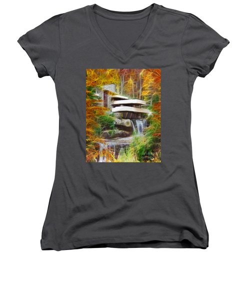 Fixer Upper - Frank Lloyd Wright's Fallingwater Women's V-Neck T-Shirt
