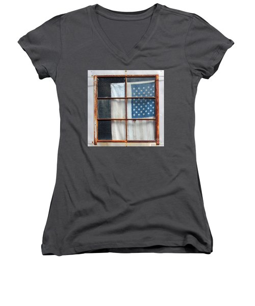 Flag In Old Window Women's V-Neck T-Shirt (Junior Cut) by Cheryl Del Toro