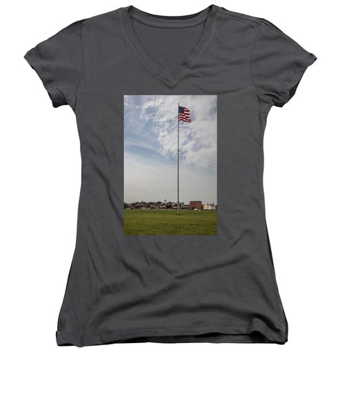 Flag Poll At Detroit Tiger Stadium  Women's V-Neck