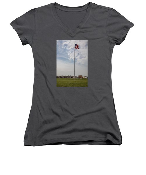Flag Poll At Detroit Tiger Stadium  Women's V-Neck T-Shirt (Junior Cut)