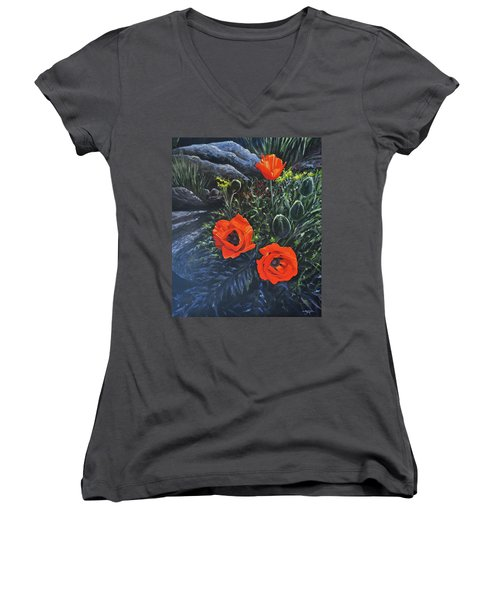 Flame Of The West Women's V-Neck T-Shirt (Junior Cut)