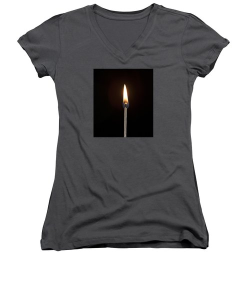 Flame Women's V-Neck T-Shirt (Junior Cut) by Tyson and Kathy Smith