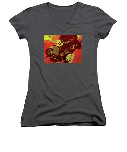 Flamed 1932 Ford Roadster Hot Rod Pop Red Women's V-Neck (Athletic Fit)