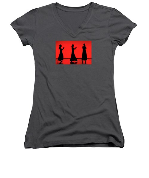 Women's V-Neck T-Shirt (Junior Cut) featuring the photograph Flamenco Red An Black Spanish Passion For Dance And Rithm by Pedro Cardona