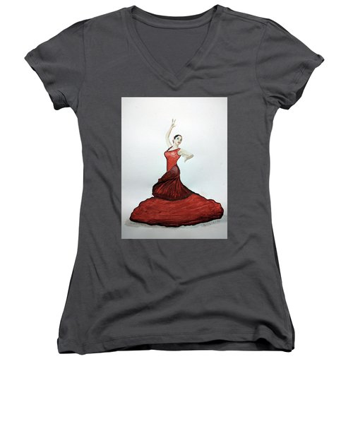 Flamenco Dancer Women's V-Neck T-Shirt (Junior Cut) by Edwin Alverio