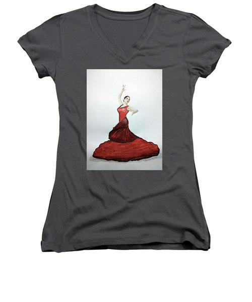 Flamenco Dancer Women's V-Neck (Athletic Fit)