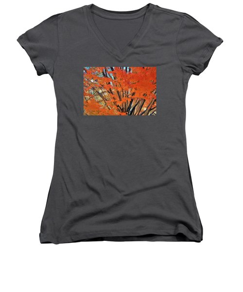 Women's V-Neck T-Shirt (Junior Cut) featuring the digital art Flaming Fall Foliage by Terry Cork