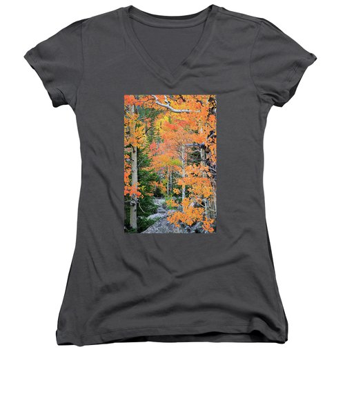 Women's V-Neck T-Shirt (Junior Cut) featuring the photograph Flaming Forest by David Chandler