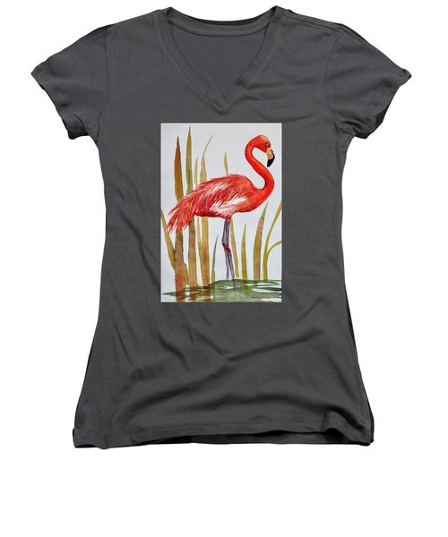 Flamingo Women's V-Neck (Athletic Fit)
