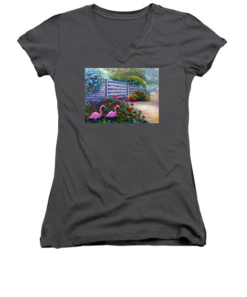 Women's V-Neck T-Shirt (Junior Cut) featuring the painting Flamingo Gardens by Lou Ann Bagnall