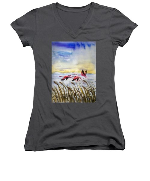 Flamingoes Flight Women's V-Neck (Athletic Fit)