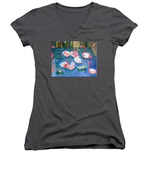 Women's V-Neck T-Shirt (Junior Cut) featuring the painting Flamingos Diptich Right by Vicky Tarcau