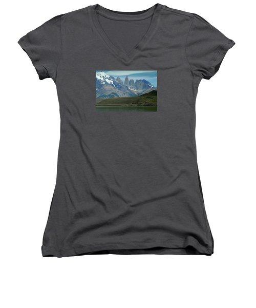 Flamingos Over Lago Nordenskjold Women's V-Neck T-Shirt (Junior Cut) by Alan Toepfer