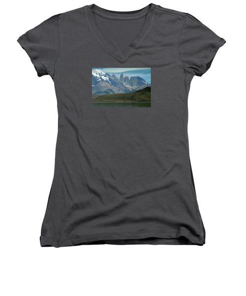 Flamingos Over Lago Nordenskjold Women's V-Neck T-Shirt