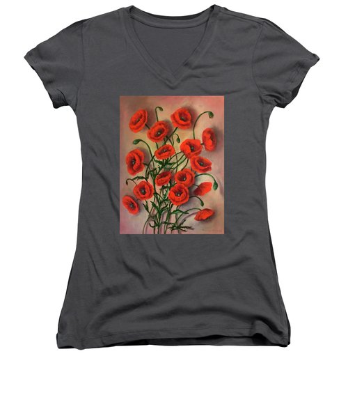 Flander Poppies Women's V-Neck