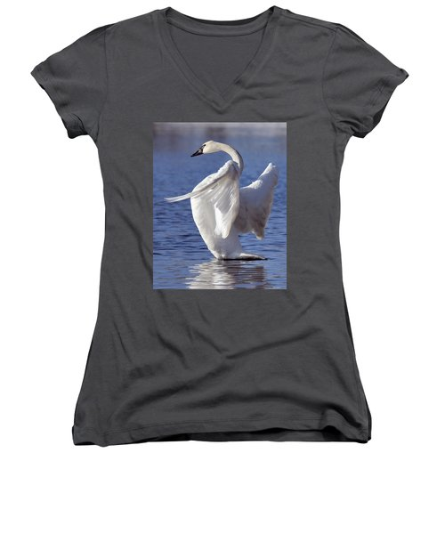 Flapping Swan Women's V-Neck (Athletic Fit)