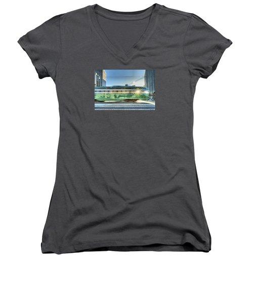 Women's V-Neck T-Shirt (Junior Cut) featuring the photograph Flash Muni by Steve Siri