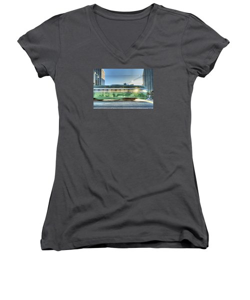 Women's V-Neck T-Shirt featuring the photograph Flash Muni by Steve Siri