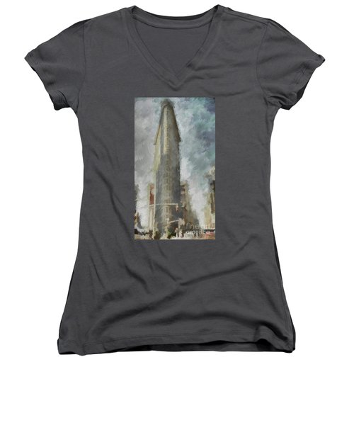 Women's V-Neck T-Shirt (Junior Cut) featuring the digital art Flat Iron by Jim  Hatch