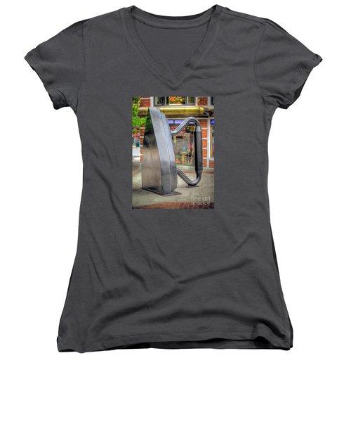 Women's V-Neck T-Shirt (Junior Cut) featuring the photograph Flat Iron Sculpture by Marion Johnson