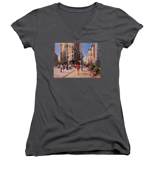 Flatiron Plaza, Summer Morning Women's V-Neck (Athletic Fit)
