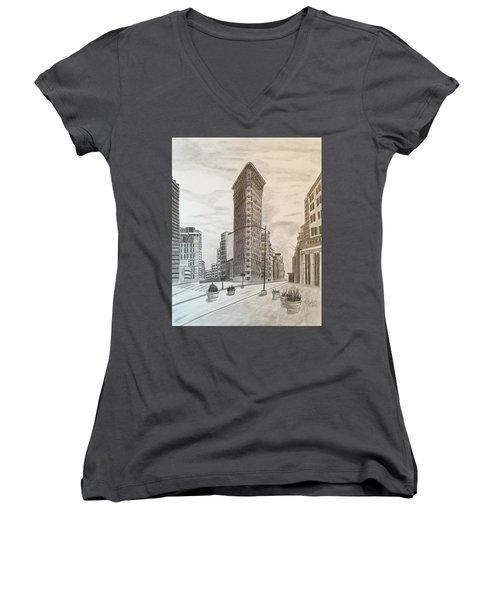 Flatiron Study Women's V-Neck T-Shirt (Junior Cut) by Tony Clark